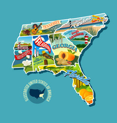 pictorial map united states vector image