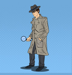 pop art detective searching with magnifying glass vector image