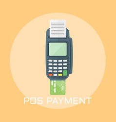 pos terminal payment colored vector image