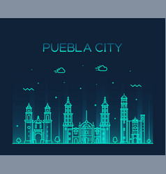 puebla city skyline puebla mexico linear vector image