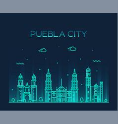 Puebla city skyline puebla mexico linear vector
