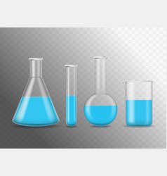 realistic detailed 3d chemical glass flasks set vector image