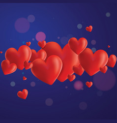 Realistic hearts background vector