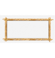 Rectangle brown wooden frame realistic bamboo vector
