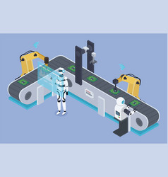 robots work on automated production conveyor vector image