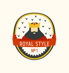 royal label with cartoon king with beard and crown vector image