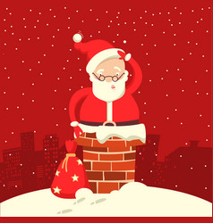 santa claus stuck in the chimney in the christmas vector image