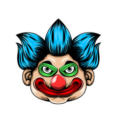 scary clown head with big red lip and big vector image