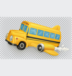 School bus airplane 3d icon vector