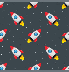 Seamless pattern with rocket space ship and stars vector