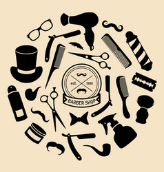 Set barbershop icons in flat style vector