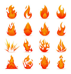 set fire and flame icons colorful vector image