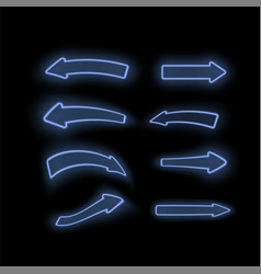 set of different neon blue arrows vector image