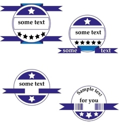 Set of four round logos with ribbons vector