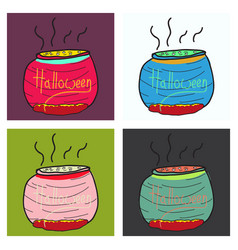 set of witches cauldron with potion isolated on vector image