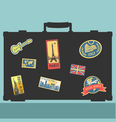 Set traveler sticker elements vector
