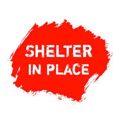 Shelter in place red ink watercolor icon vector
