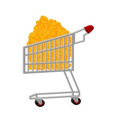 shopping cart bitcoin shop trolley crypto vector image