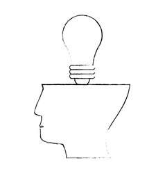 Sketch half head bulb idea concept vector