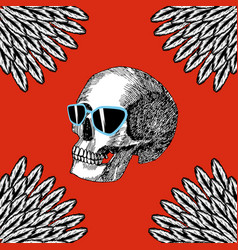 skull with glasses red background vector image