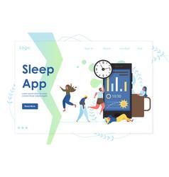 sleep app website landing page design vector image