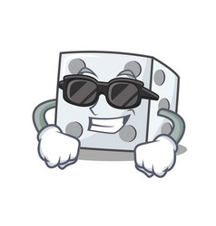 Super cool dice character cartoon style vector