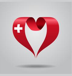 Swiss flag heart-shaped ribbon vector
