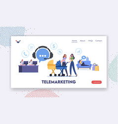 telemarketing purchase landing page template vector image