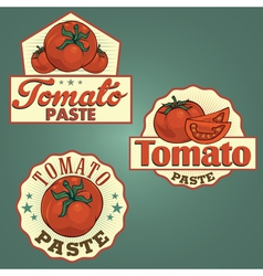 Tomato paste labels set vector