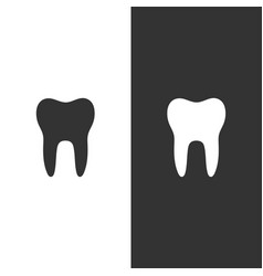 Tooth flat icon on a black and white background vector