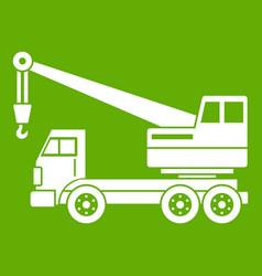 truck crane icon green vector image