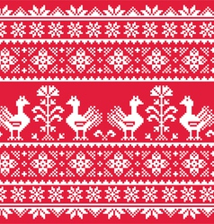 Ukrainian Slavic folk art knitted red pattern vector