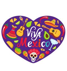 viva mexico banner sombrero guitar sugar skull vector image
