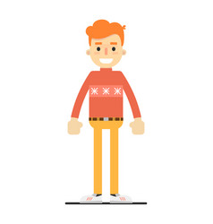 Young smiling redheaded guy character vector