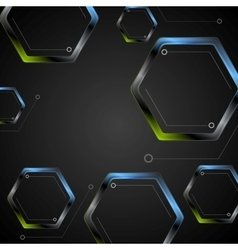 Dark green blue geometric hexagons background vector image vector image