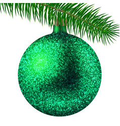 green christmas ball or bauble and fir branch vector image vector image