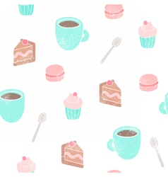 Tea and desserts background vector image vector image