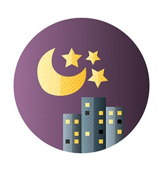 Urban city night life flat circle icon vector image