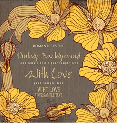 vvintage background with drawing flowers vector image vector image