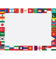 Asian countries flag icons frame vector image vector image