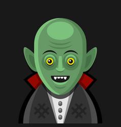 cute cartoon green vampire on derk background vector image