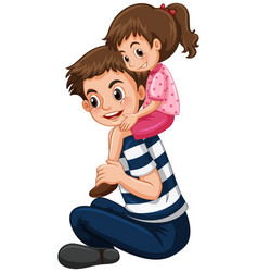 father gives little girl piggy back ride vector image vector image
