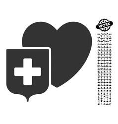 Heart shield icon with job bonus vector