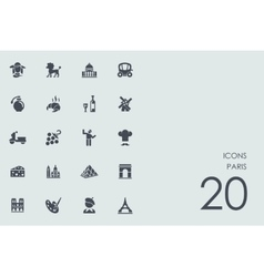 Set of Paris icons vector image