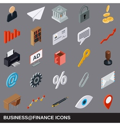 Business and finance flat isometric icons vector image vector image