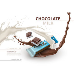 chocolate bar with milk realistic mock up vector image vector image