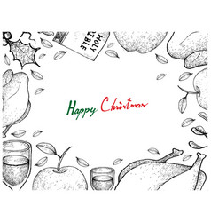 christmas and new year dinner frame on white backg vector image vector image
