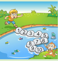 counting number one to ten with boy and monkey vector image vector image