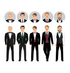 fashion cartoon elegant business men set vector image vector image