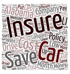 How To Compare Low Cost Car Insurance In Alabama vector image